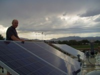 Bruce and his Solar PV panels in the rain